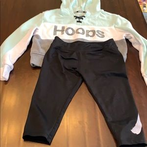 Justice hoodie and Nike capris play condition